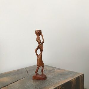 Vintage Hand Carved African Woman Figurine